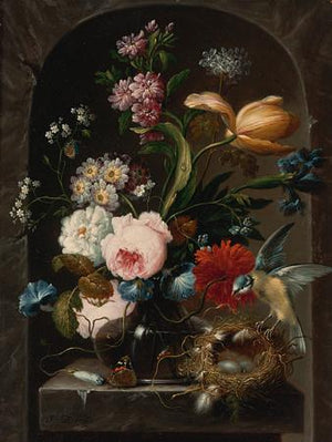 Floral Still Life with Bird and Nest - Venus Art Prints