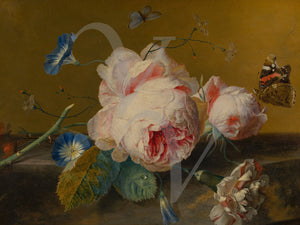 Dutch floral still life painting with peonies. Fine art print