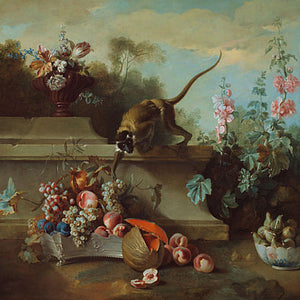 Monkey in a baroque garden. Fine art print
