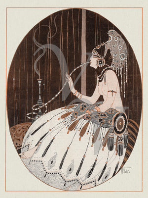 Exotic Vintage Smoking Woman. Art Deco Risque. Fine Art Print
