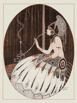 Vintage Female Smoker. Woman with Hookah. Fine Art Print