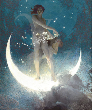 Spring Scattering Stars. Antique Pagan moon goddess painting. Fine art print