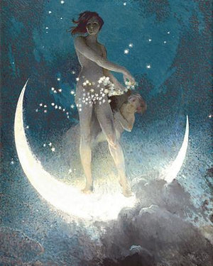 Spring Scattering Stars. Woman standing on moon. Celestial painting fine art print