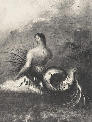 Siren Clothed in Barbs by Odilon Redon. Mermaids and Mermen. Fine Art Print