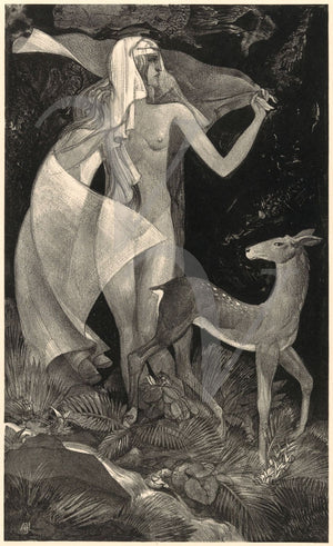At the Source. Woman with Deer in Night Forest.