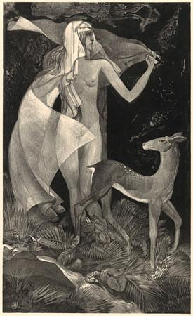 At The Source. Woman with a Deer. Symbolist artwork. Fine art print