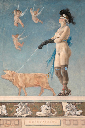 Pornocrates by Felicien Rops. Woman walking a pig. Fine art print