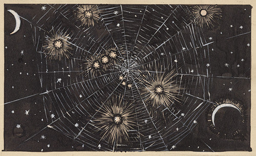 Organic Filaments. Ink drawing of a spider's web against a night sky of stars and moon. Fine art print