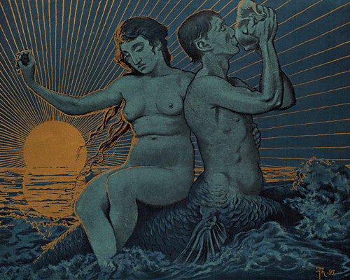 Triton and Nereide by Hans Thoma. Mythology. Water spirits. Fine art print