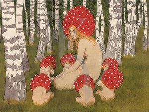 Mushroom Mother. Female in forest with mushroom babies. Vintage fine art print