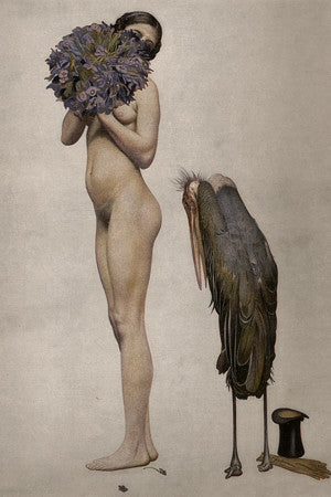 Courting. Coy nude with a stork. Vintage illustration. Fine art print