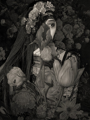 Melancholia. Woman with dark flowers collage. Fine art print