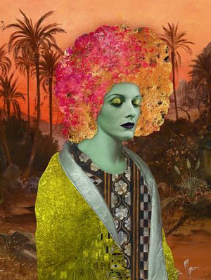 Serendipity colourful exotic woman with wild hair. Original Collage. Fine art print
