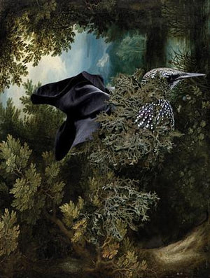 Deep in the Flying Garden. Surreal forest bird. Dream art. Fine art print