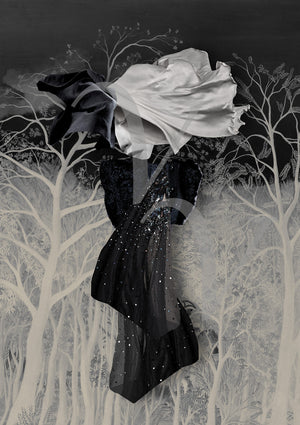 When I Dream. Dreamy abstract woman in moonlit night forest collage. Fine art print