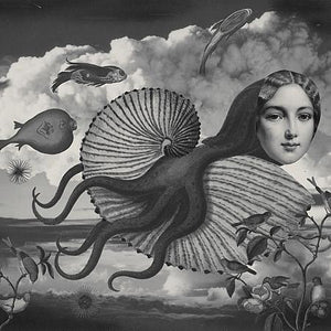 From the Cabinet of Dr. Calamari original collage. Surreal flying octopus woman. Fine art print.
