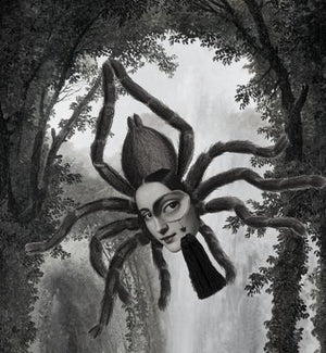 Slinky original collage. Spider woman with monocle collage. Oddities & curiosities, Fine art print