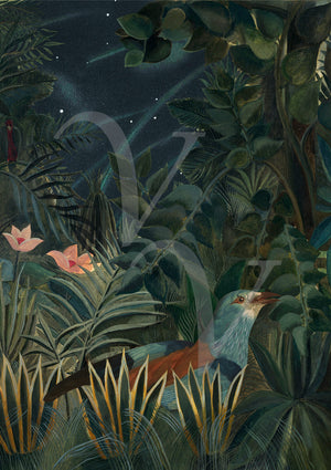 Bird in night forest. Dark floral, tropical jungle collage. Fine art print