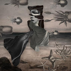 Evening Adventures. Surreal flying woman at octopus beach. Original collage. Fine art print.