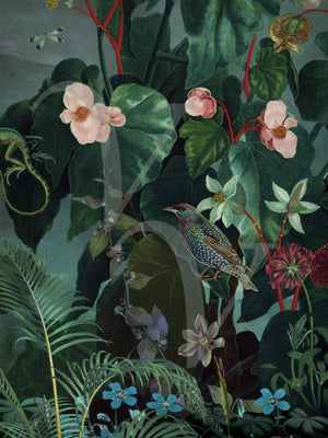 Daybreak dark floral lush exotic plants with birds botanical original collage. Fine Art Print