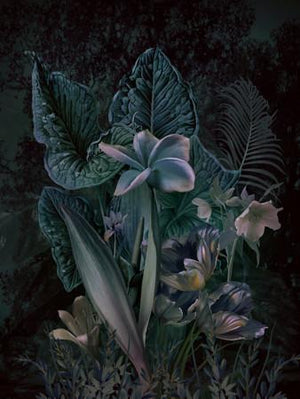 Moon Garden. Lush night flowers. Fine art print