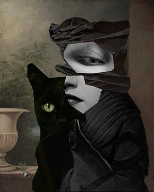 Familiar. Abstract black cat woman. Fine art print
