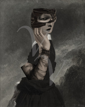 Wuthering Heights Gothic Surreal woman collage. Woman in a dark landscape. Fine art print
