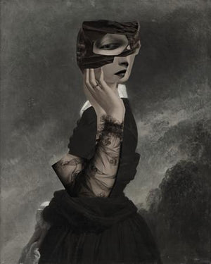 Wuthering Heights surreal female collage. Woman in a dark landscape. Fine art print
