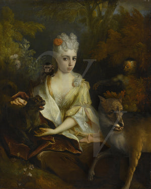 Strange Baroque beauty with forest animals. Fine art print