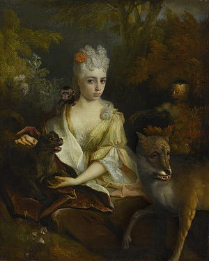 Strange Baroque beauty with vicious little creatures. Woman with forest animals. Fine art print