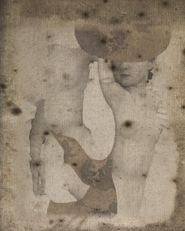 Gemini. Surreal Avant Garde female nudes. Erotic original collage. Fine art print