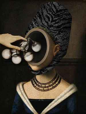 The Enlightenment. Abstract surreal costumed woman collage. Fine art print