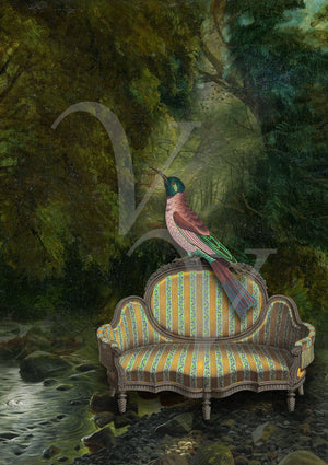 The Green Room. Exotic bird on forest sofa collage. Fine art print