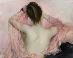 Woman with a Pink Veil. Exotic boudoir painting. Fine art print