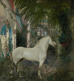 White horse in exotic tropical garden. Original collage. Fine art print