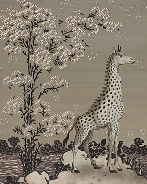 Giraffe in an exotic garden collage. Fine art print
