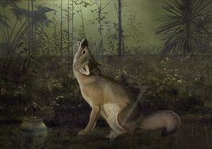 Fox howling at the moon in mythical night garden print