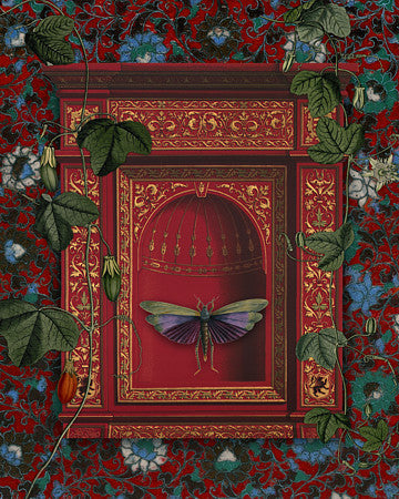 Jewel. Decadent flying insect collage. Fine art print