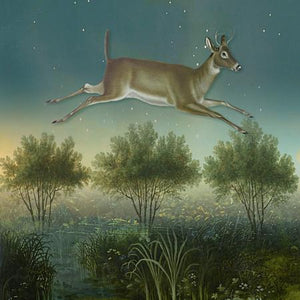 Skylark. Deer, forest and stars collage. Fine art print