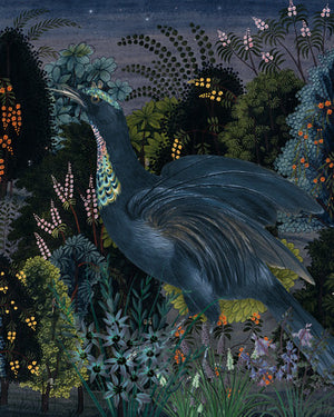 Night Life. Exotic bird in flower forest. Fine art print