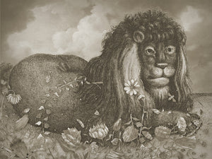 Dandy Lion. Antique lion in flowers collage. Fine art print
