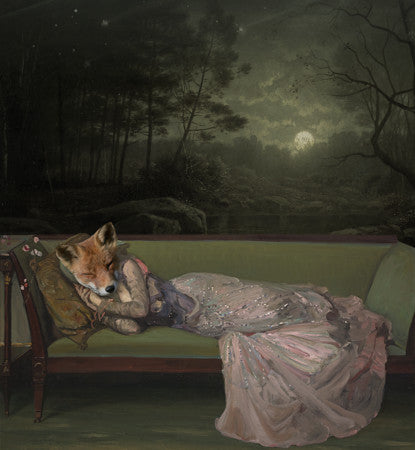 Fox woman sleeping under moonlight. Original collage. Fine art print