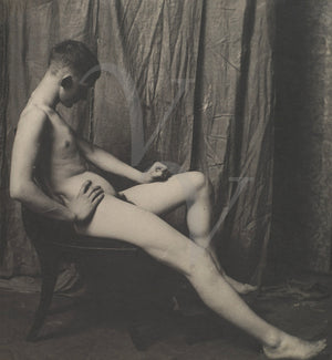 Vintage photo of a male nude by Thomas Eakins. Fine art print