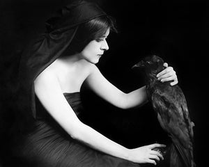 Theda Bara with a crow. Vintage photograph. Dark Gothic fine art print
