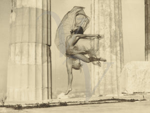 Female dancing at the Parthenon. Antique photography. Fine art print