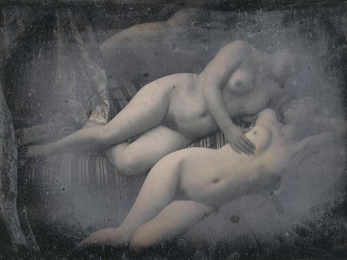 Two Women Embracing antique erotic photography. Fine art print