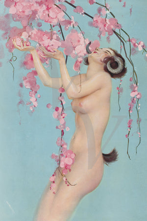 Faunesse. Vintage mythological nude female. Fine art print