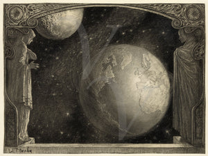 The Earth and The Milky Way and Moon by Wladyslaw T. Benda. Fine Art Print