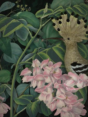 Folly. Whimsical lush floral forest bird collage. Fine art print