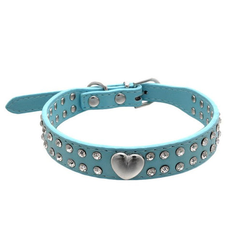 Adjustable Pet Dog Collar Bling Crystal Necklace Pet Puppy Cat Rhinestone Heart Pattern 4 sizes 2JY21 - trendymal.com